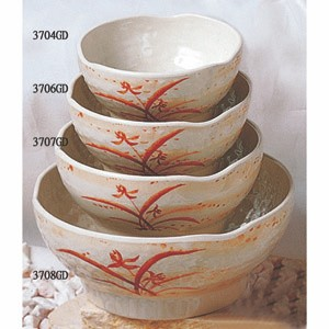 Thunder Group 3708GD Gold Orchid Melamine Wave Soup Bowl, 38 1/2 oz.