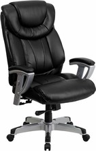 Flash Furniture GO-1534-BK-LEA-GG 400 Lb. Capacity Big & Tall Black Leather Office Chair with Arms