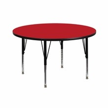 "Flash Furniture XU-A42-RND-RED-H-P-GG 42"" Round Activity Table with 1.25"" Thick High Pressure Red Laminate Top and Height Adjustable Preschool Legs"