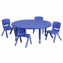 Flash Furniture YU-YCX-0053-2-ROUND-TBL-BLUE-E-GG 45'' Round Adjustable Blue Plastic Activity Table Set with 4 School Stack Chairs