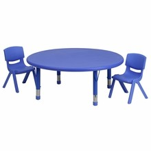 "Flash Furniture YU-YCX-0053-2-ROUND-TBL-BLUE-R-GG 45"" Round Adjustable Blue Plastic Activity Table Set with 2 School Stack Chairs"