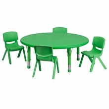 "Flash Furniture YU-YCX-0053-2-ROUND-TBL-GREEN-E-GG 45"" Round Adjustable Green Plastic Activity Table Set with 4 School Stack Chairs"