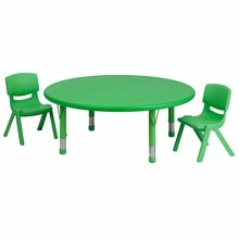 Flash Furniture YU-YCX-0053-2-ROUND-TBL-GREEN-R-GG 45'' Round Adjustable Green Plastic Activity Table Set with 2 School Stack Chairs