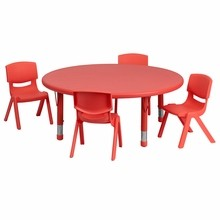 Flash Furniture YU-YCX-0053-2-ROUND-TBL-RED-E-GG 45'' Round Adjustable Red Plastic Activity Table Set with 4 School Stack Chairs