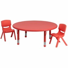 Flash Furniture YU-YCX-0053-2-ROUND-TBL-RED-R-GG 45'' Round Adjustable Red Plastic Activity Table Set with 2 School Stack Chairs