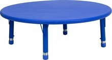 "Flash Furniture YU-YCX-005-2-ROUND-TBL-BLUE-GG 45"" Round Height Adjustable Blue Plastic Activity Table"