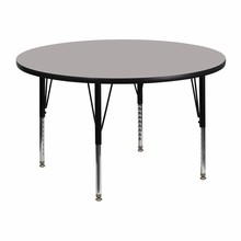 48'' Round Activity Table with 1.25'' Thick High Pressure Grey Laminate Top and Height Adjustable Pre-School Legs