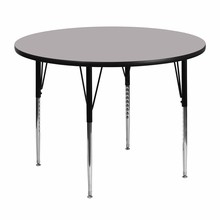 Flash Furniture XU-A48-RND-GY-T-A-GG 48'' Round Activity Table with Grey Thermal Fused Laminate Top and Standard Height Adjustable Legs