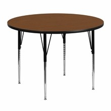 Flash Furniture XU-A48-RND-OAK-H-A-GG 48'' Round Activity Table with 1.25'' Thick High Pressure Oak Laminate Top and Standard Height Adjustable Legs