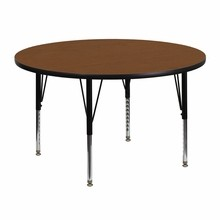 48'' Round Activity Table with 1.25'' Thick High Pressure Oak Laminate Top and Height Adjustable Pre-School Legs