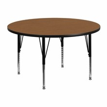 48'' Round Activity Table with Oak Thermal Fused Laminate Top and Height Adjustable Pre-School Legs