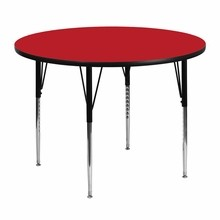Flash Furniture XU-A48-RND-RED-H-A-GG 48'' Round Activity Table with 1.25'' Thick High Pressure Red Laminate Top and Standard Height Adjustable Legs