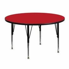 48'' Round Activity Table with 1.25'' Thick High Pressure Red Laminate Top and Height Adjustable Pre-School Legs