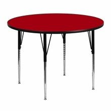 Flash Furniture XU-A48-RND-RED-T-A-GG 48'' Round Activity Table with Red Thermal Fused Laminate Top and Standard Height Adjustable Legs