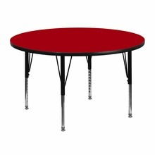 Flash Furniture XU-A48-RND-RED-T-P-GG 48'' Round Activity Table with Red Thermal Fused Laminate Top and Height Adjustable Pre-School Legs