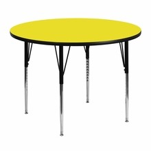 Flash Furniture XU-A48-RND-YEL-H-A-GG 48'' Round Activity Table with 1.25'' Thick High Pressure Yellow Laminate Top and Standard Height Adjustable Legs
