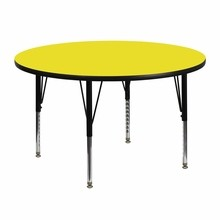 48'' Round Activity Table with 1.25'' Thick High Pressure Yellow Laminate Top and Height Adjustable Pre-School Legs