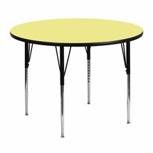 Flash Furniture XU-A48-RND-YEL-T-A-GG 48'' Round Activity Table with Yellow Thermal Fused Laminate Top and Standard Height Adjustable Legs