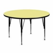 Flash Furniture XU-A48-RND-YEL-T-P-GG 48'' Round Activity Table with Yellow Thermal Fused Laminate Top and Height Adjustable Pre-School Legs