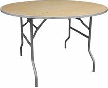 Flash Furniture XA-48-BIRCH-M-GG 48'' Round Heavy Duty Birchwood Folding Banquet Table with Metal Edges