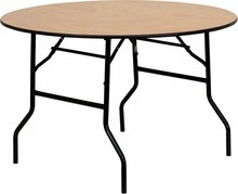 Flash Furniture YT-WRFT48-TBL-GG 48'' Round Wood Folding Banquet Table with Clear Coated Finished Top