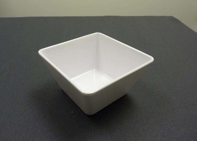 "Yanco RM-405 Rome 5"" x 2 3/4"" Square White Melamine Bowl 18 oz."