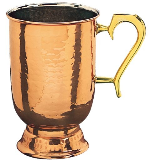 Old Dutch International 286 Decor Copper Hammered Tankard with Brass Handle, 1 Pint