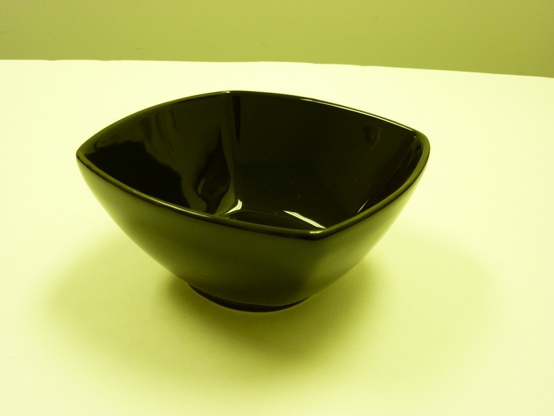 "Yanco ca-405bk Carnival Black 5 1/4"" x 2 5/8"" Square Salad Bowl 12 oz."