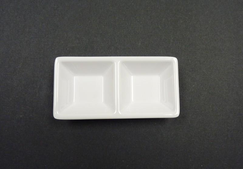 "Yanco RM-063 Rome 5 1/8"" x 2 1/2"" 2-Compartment Melamine Dessert Dish"