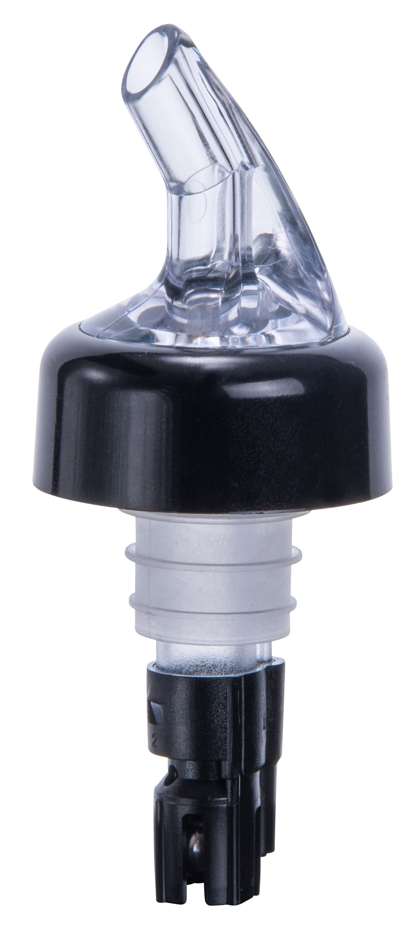 Winco PPA-063 Measuring Pourer with Black Collar, Black Tail and Clear Spout 5/8 oz.