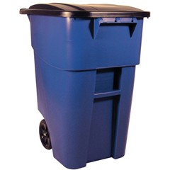 50 Gallon Brute Rollout Trash Container, Blue
