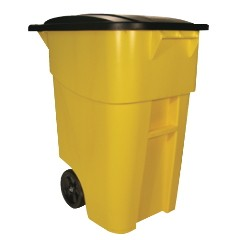 50 Gallon Brute Rollout Trash Container,Yellow