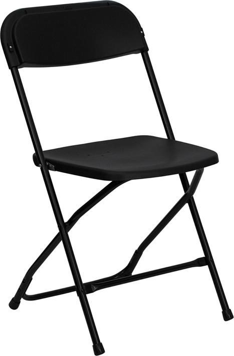 500 LB HERCULES™ Black Plastic Folding Chair