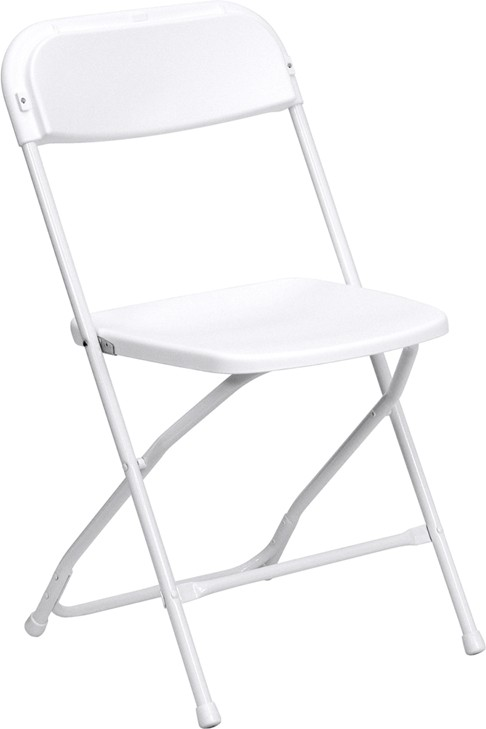 Flash Furniture LE-L-3-WHITE-GG 500 Lb. HERCULES Series Premium White Plastic Folding Chair
