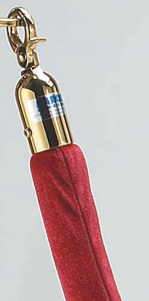 Aarco Products TR-8 Form-A-Line Red Velour Rope with Brass Hardware 6 Ft.