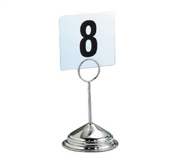 "TableCraft 1306 6"" Stainless Deluxe Table Number Stand"