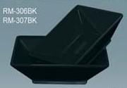 "Yanco RM-306BK Rome 6"" x 1 3/4"" Square Black Melamine Bowl 14 oz."