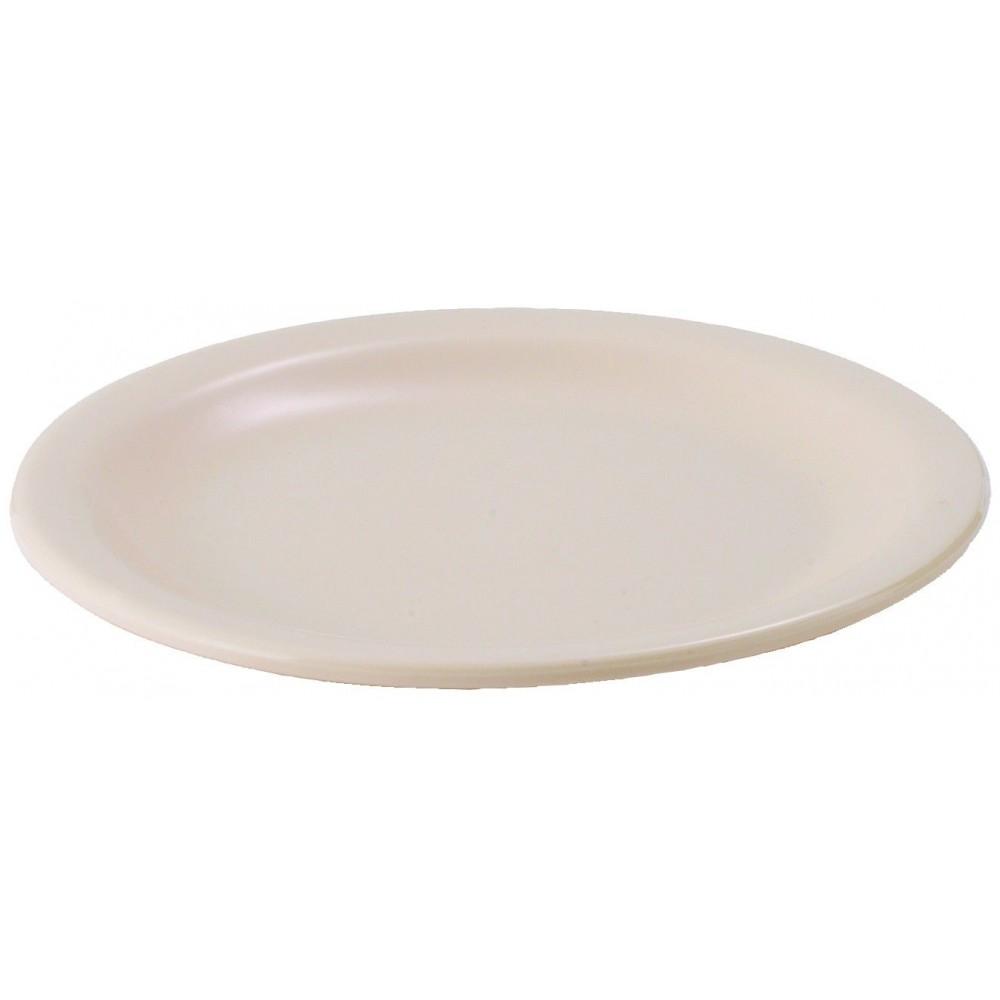 "Winco MMPR-6 Tan Melamine 6 1/2"" Round Plate"
