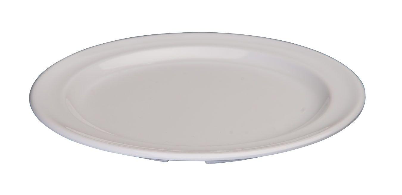 "Winco MMPR-6W White Melamine 6 1/2"" Round Plate"