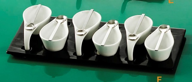 CAC China PTP-6-B Party Collection (6) 2 oz. Tasting Cups, (6) Metal Spoons, Black Rectangular Tray Set