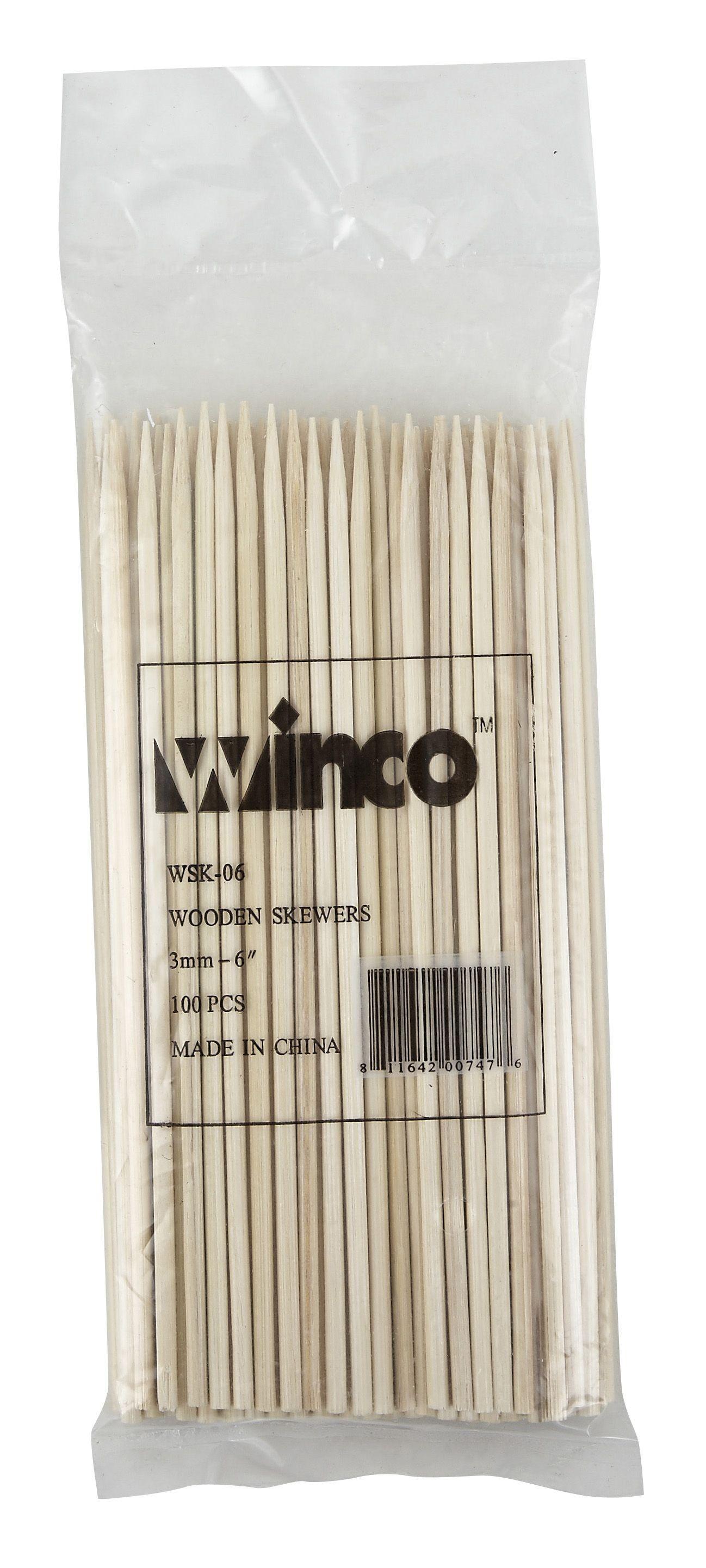 "Winco WSK-06 Bamboo Skewers 6"""