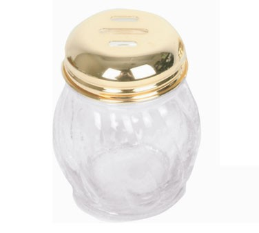 Thunder Group GLTWCS206 Gold Slotted Swirl 6 oz. Cheese Shaker