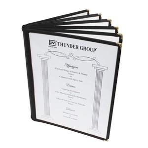 "Thunder Group PLMENU-6BL 6-Page Book Fold Black Menu Holder 8-1/2"" x 11"""