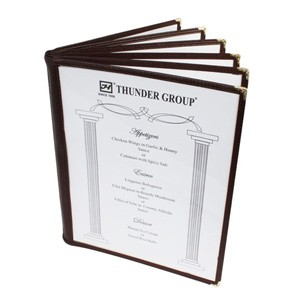 "Thunder Group PLMENU-6BR 6-Page Book Fold Brown Menu Holder 8 1/2"" x 11"""