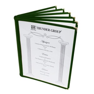 "Thunder Group PLMENU-6GR 6-Page Book Fold Green Menu Holder, 8-1/2"" x 11"""