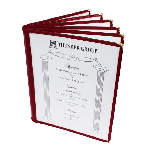 "Thunder Group PLMENU-6MA 6-Page Book Fold Maroon Menu Holder, 8 1/2"" x 11"""