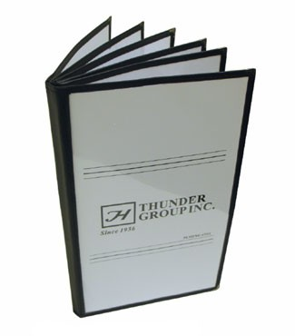 "Thunder Group PLMENU-6TGI 6 Page Black Menu Holder 7-1/2"" x 13-1/4"""