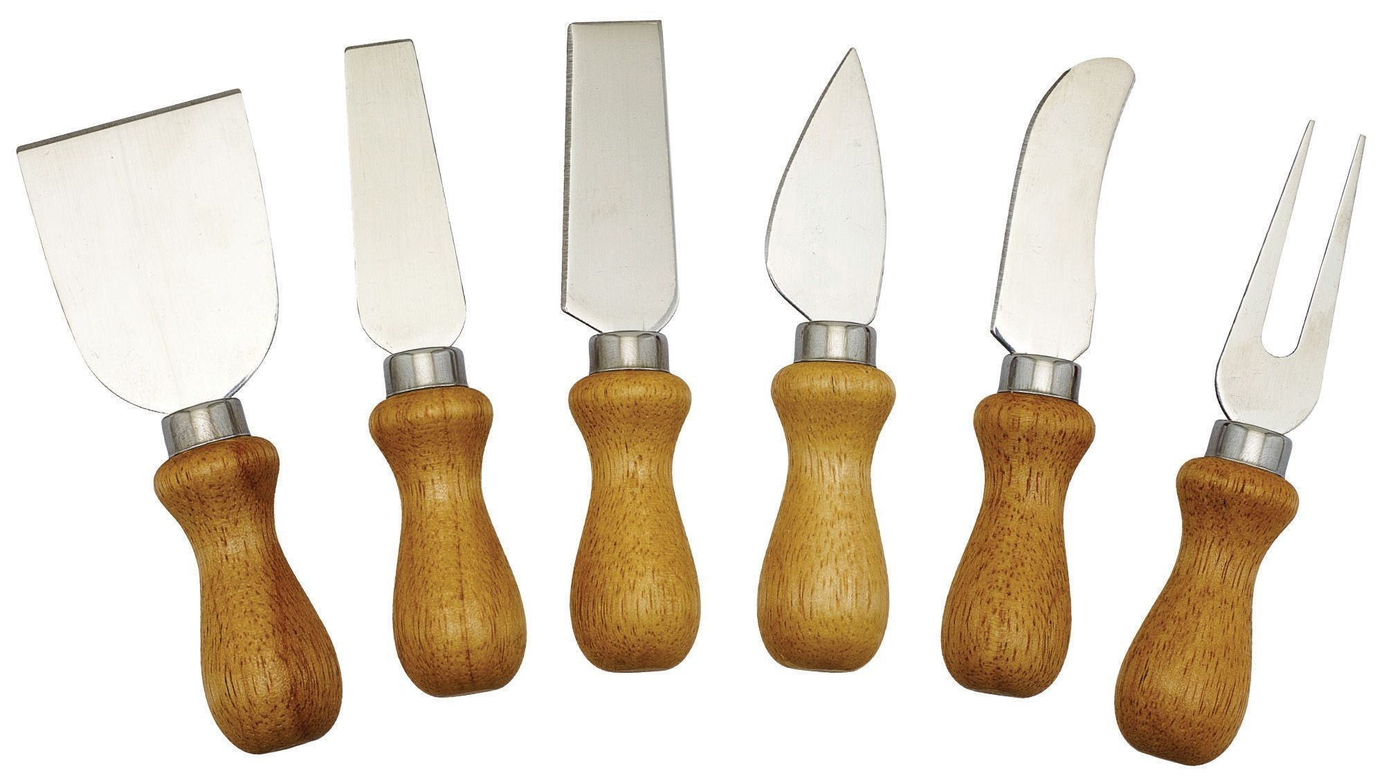 Winco KCS-6W 6-Piece Cheese Knife Set with Wooden Handle