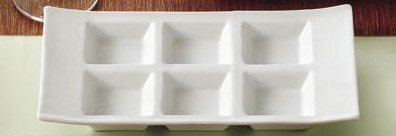 "CAC China CN-6T10 6-Compartment Rectangular Taste Tray 10 3/4"" x 6"""