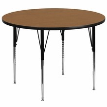 Flash Furniture XU-A60-RND-OAK-T-A-GG 60'' Round Activity Table with Oak Thermal Fused Laminate Top and Standard Height Adjustable Legs